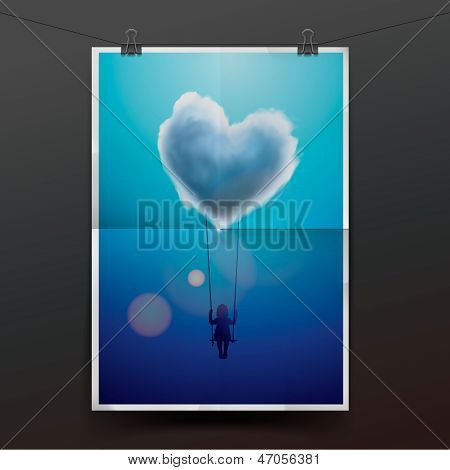 Little girl on a swing under heart shape cloud