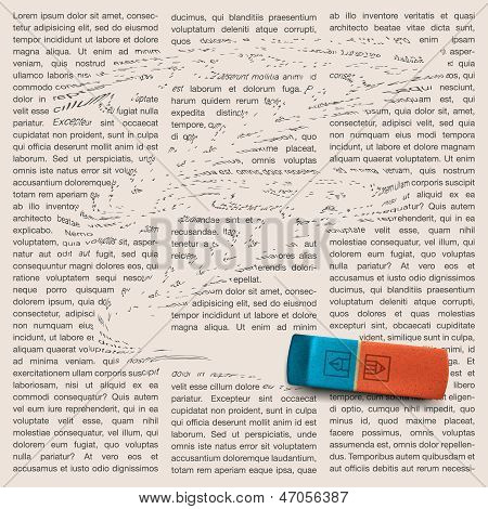 Newspaper page with eraser of erasing news