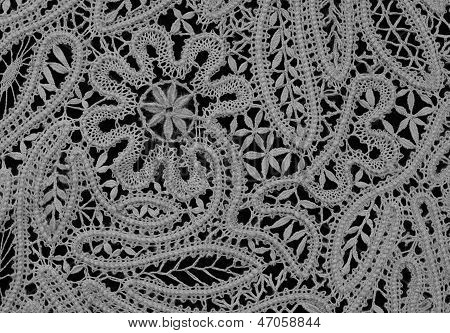 Old Lace Texture On Black