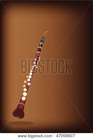 Un Musical corno inglés sobre fondo marrón oscuro