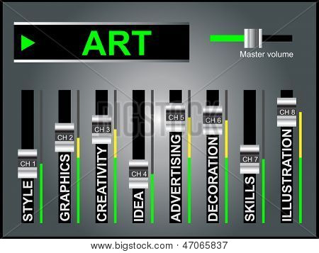 High resolution concept or conceptual white art text word cloud tagcloud as DJ mixer on gray background