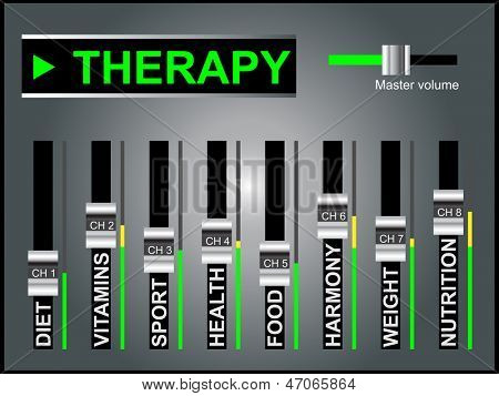 High resolution concept or conceptual white therapy text word cloud tagcloud as DJ mixer on gray background