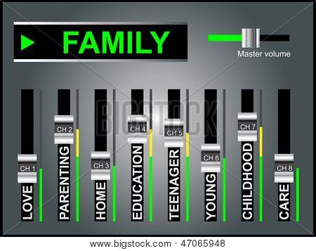 High resolution concept or conceptual white family text word cloud or tagcloud as DJ mixer on gray background