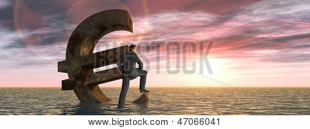 High resolution conceptual currency euro symbol and 3D businessman sinking in ocean as a concept for European crisis banner