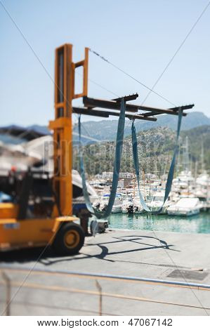 Forklift With Yacht Crane