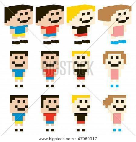 Vector Pixel Art niños carácter
