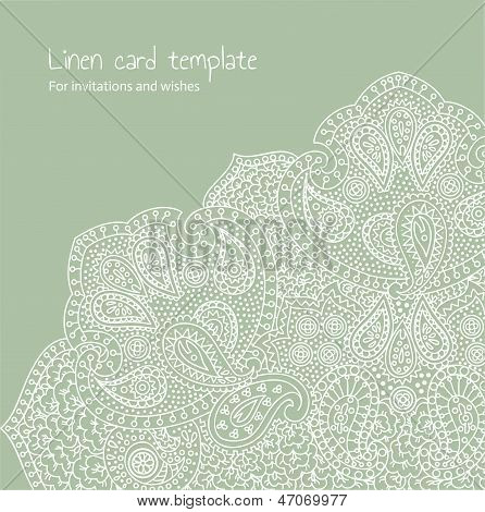 White Linen Brocade Card Template