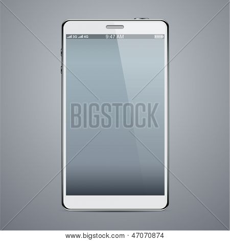 Vector illustration of white modern realistic smartphone with empty black screen. Eps10.