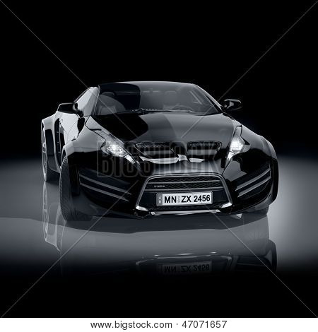 Black sports car. Non-branded car design.