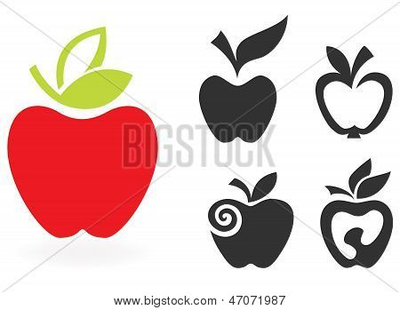 set of apple icon isolated on white background. Vector illustration