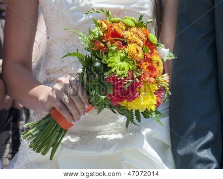 Wedding Bouquet Of Colorful Flowers