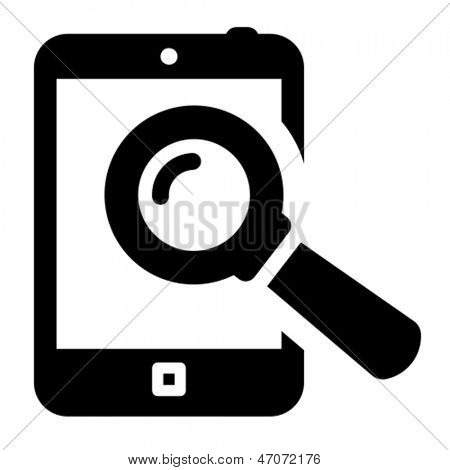 Tablet PC with loupe icon