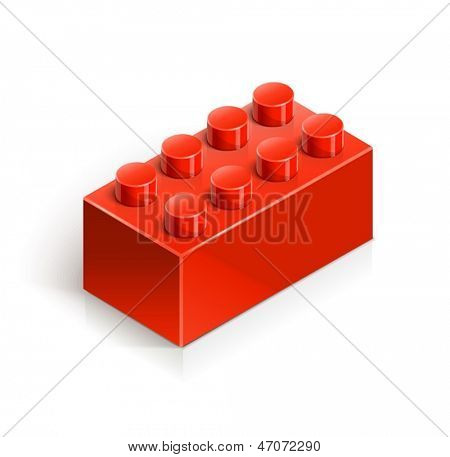 brick meccano toy vector illustration isolated on white background EPS10. Transparent objects and opacity masks used for shadows and lights drawing