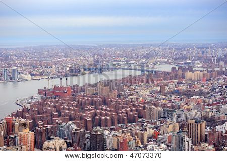 Brooklyn skyline Arial view from New York City Manhattan with Williamsburg Bridge  over East River and skyscrapers