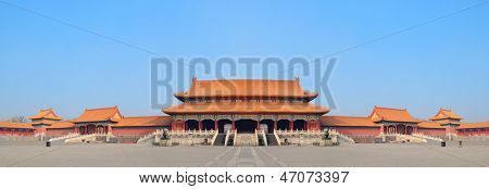 Historical architecture panorama in Forbidden City in Beijing, China.