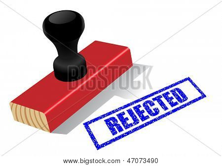 "Wooden rubber stamp with ""Rejected""?�?�  impress isolated on white background."