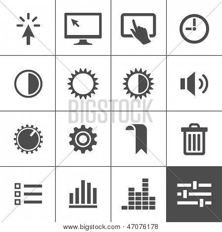 Conjunto de iconos de configuración. Iconos de control. Ilustración del vector. Serie Simplus