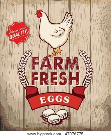 Retro Fresh Eggs Poster Design With Wooden Background