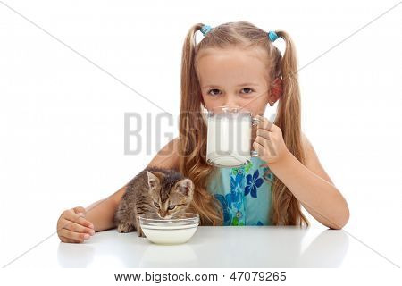 Best buddies drinking milk together - little girl and her kitten