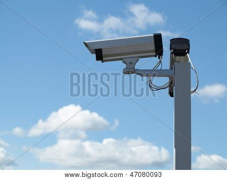 Security Camera Cctv Over Blue Sky