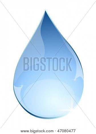 Blue water drop isolated on white background vector illustration.