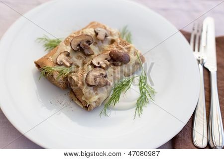 Tasty Salty Pancakes With Mushrooms