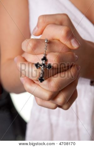 Girl Praying Hands With Cross Praying Hands Girl Mi