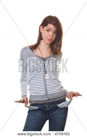 Pleite Young Woman Showing Her Empty Pockets