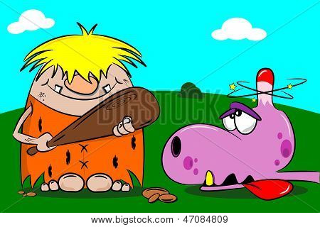 Cartoon Caveman and Dinosaur