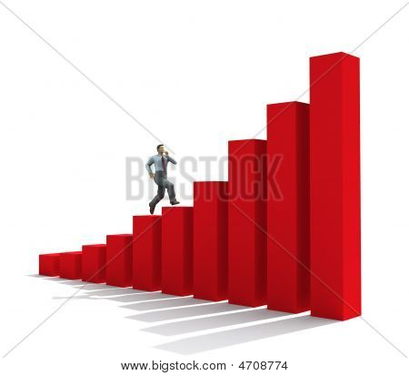 Businessman Run Up On Graph