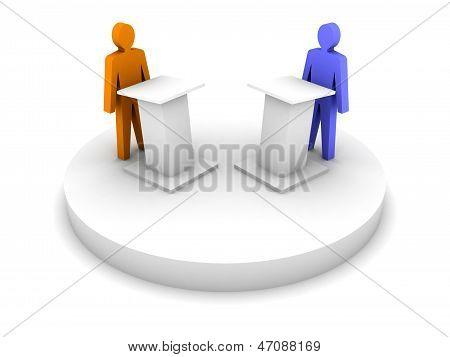 Debate. Speaking from a tribune confrontation. Concept 3D illustration.