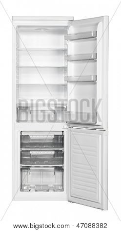 Two door white refrigerator isolated on white background.