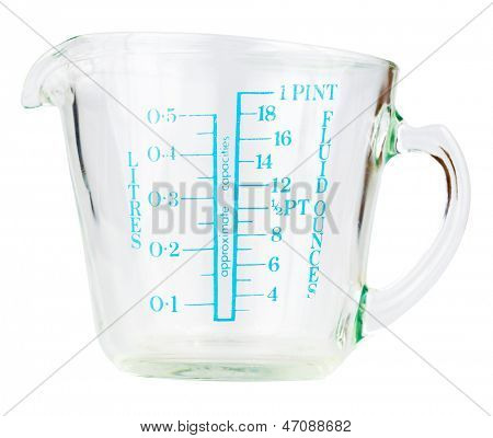Empty measuring cup isolated on white with clipping path