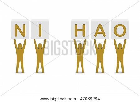 Men holding the phrase ni hao (hello in chinese). Concept 3D illustration.