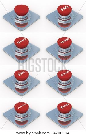 Set Red Buttons On A White Background. 3D Image