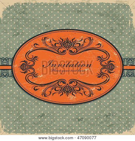 Vintage retro invitation grunge card template design