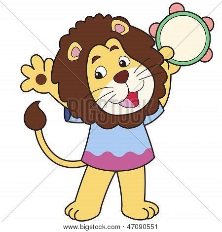 Cartoon Lion Playing A Tambourine