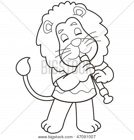 Cartoon Lion Playing An Oboe