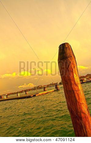 Venice Italy Lagune View With Bricole