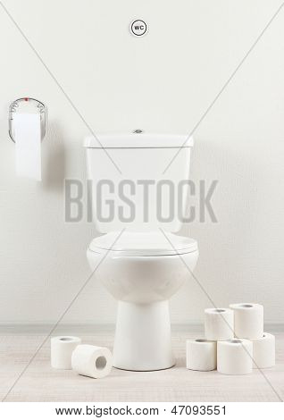 White toilet bowl with toilet paper in a bathroom