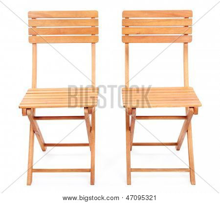 Wooden chairs isolated on white