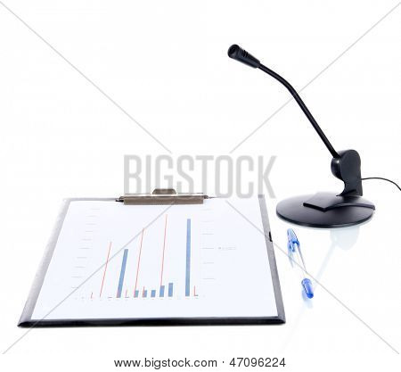 Computer microphone with documents isolated on white