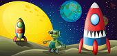 pic of outerspace  - Illustration of the two aircrafts and a robot in the outerspace - JPG