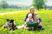 stock photo of shepherd  - a young attractive mother reads a story book to her two children while sitting outside in a meadow with their dog - JPG