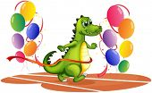 stock photo of dinosaur-eggs  - Illustration of a crocodile walking between balloons on a white background - JPG
