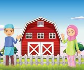 Illustration of a male and a female muslim in front of a barnhouse
