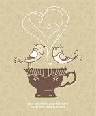 image of recipe card  - card with cup and birds - JPG