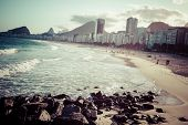 stock photo of carnival brazil  - View of Ipanema Beach in the evening Brazil - JPG