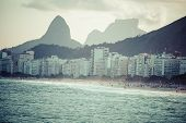 foto of ipanema  - View of Ipanema Beach in the evening Brazil - JPG