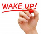 image of transformation  - Hand writing Wake Up with red marker on transparent wipe board - JPG